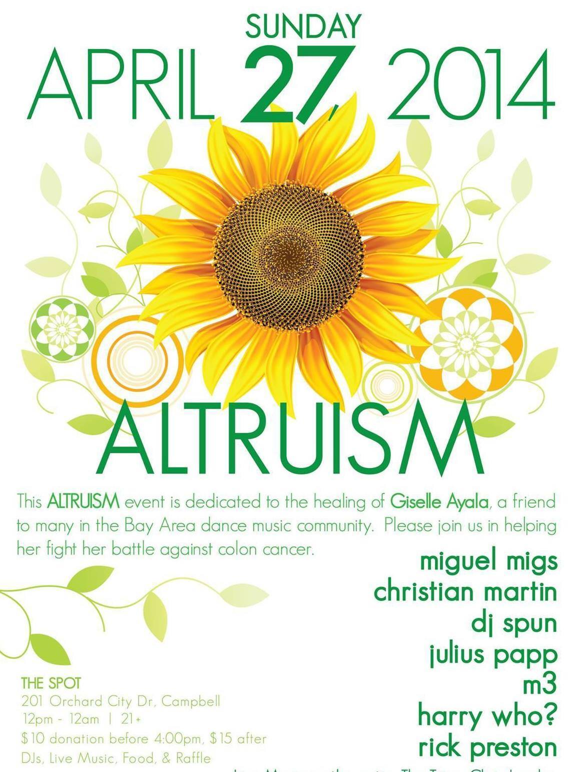 Altruism w/DJs MIGUEL MIGS / CHRISTIAN MARTIN / DJ SPUN / JULIUS PAPP / M3 / HARRY WHO / RICK PRESTON & Live Bands on the patio!